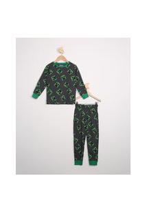 Pijama Infantil Manga Longa Estampado Creeper Minecraft Cinza Mescla Escuro