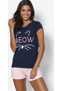 Short Doll Meow- Azul Marinho & Rosazulai