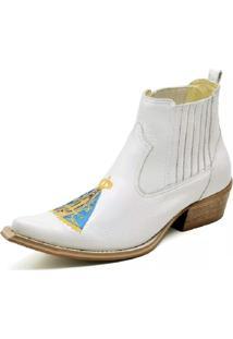 Botina Country Couro Bico Fino Nossa Senhora Aparecida Gaspariano Calçados Branca