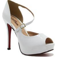 779adb9484 Sapato Zariff Shoes Peep Toe Noiva - Feminino-Branco