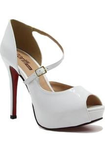 Sapato Zariff Shoes Peep Toe Noiva - Feminino-Branco