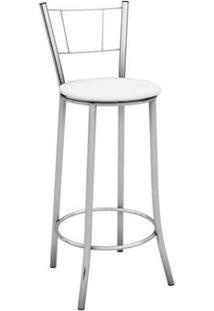 Banqueta Alta Com Encosto Maior Cromado E Assento Branco - Marcheli