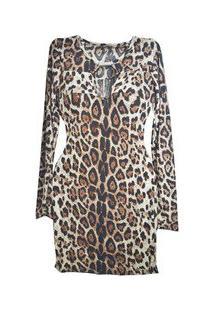 Vestido Tubinho De Malha Animal Print