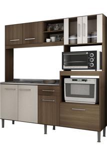 Cozinha Compacta Sem Tampo 8 Portas 1 Gaveta Helena- Genialflex - Castanho / 3D