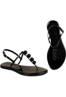 Rasteira Flat Bolinhas Mercedita Shoes Confortável Dia A Dia Casual - Feminino-Preto