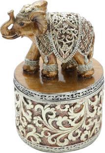 Enfeite Decorativo Elefante Dourado 10X10X15 Cm