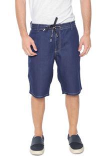 Bermuda Jeans Coca-Cola Jeans Reta Amarração Azul