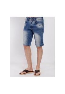 Bermuda Jeans Estonada Zune Masculina Azul