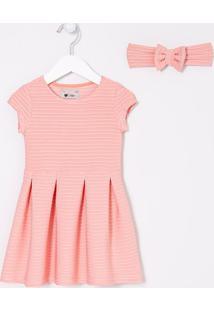 Vestido Infantil Listras Com Textura E Tiara - Tam 1 A 4 Anos