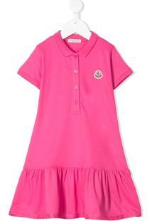 Moncler Kids Vestido Polo Com Pregas - Rosa