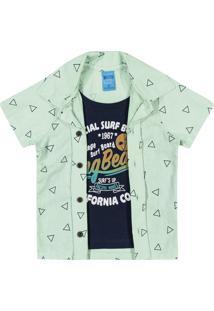 Camisa + Sobreposição Bito Primeiros Passos Em Meia Malha E Tricoline Alto Verão Verde Claro