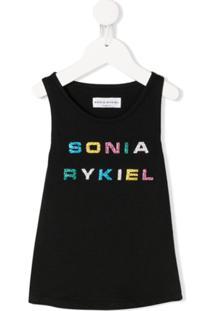 Sonia Rykiel Enfant Regata Com Estampa De Logo - Preto