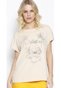 Camiseta Floral - Bege & Preta - Colccicolcci