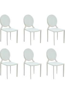 Kit 6 Cadeiras Decorativas Sala E Cozinha Karma Medalhã£O Pvc Branca - Gran Belo - Branco - Dafiti