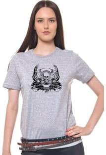 Camiseta Feminina Joss - Caveira Rock - Feminino-Mescla