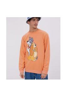 Camiseta Manga Longa Estampa Dama E Vagabundo   Disney   Laranja   Pp