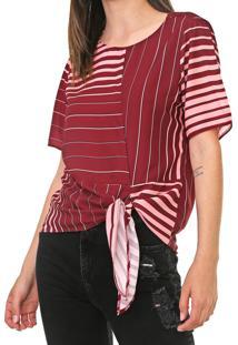 Camiseta Dimy Listrada Vinho