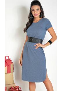 Vestido Midi Azul Com Fendas Laterais