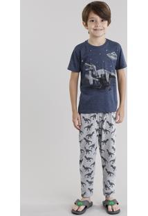 Pijama Dinossauro Manga Curta Azul Marinho