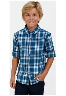 Camisa Infantil Xadrez Manga Longa Marisa
