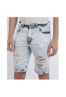 Bermuda Jeans Masculina Destroyed Com Bolsos Azul Claro