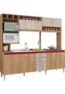 Cozinha Compacta Aperibe 8 Pt Carvalho E Bordô