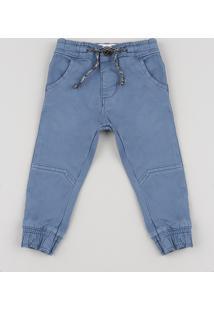 Calça De Sarja Infantil Jogger Com Bolsos Azul