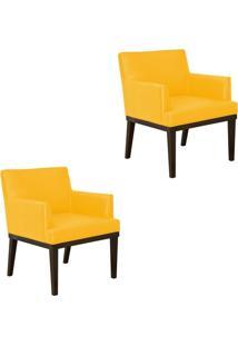 Kit 02 Poltronas Decorativa Vitória Para Sala E Recepção Corino Amarelo - D'Rossi