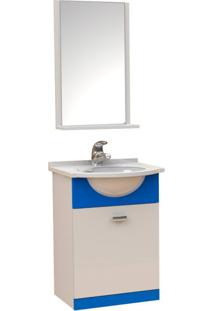 Conjunto Para Banheiro Prático Branco E Azul