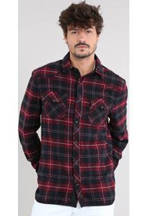 Camisa Masculina Estampada Xadrez Com Suede Manga Longa Vermelho Escuro