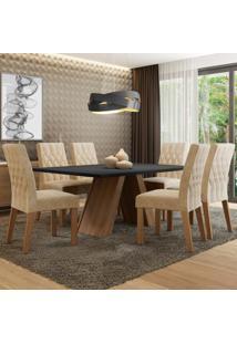 Conjunto Sala De Jantar Madesa Giovana Mesa Tampo De Madeira Com 6 Cadeiras Marrom - Marrom - Dafiti