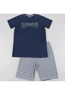 "Pijama Infantil ""Gamer"" Manga Curta Azul Marinho"
