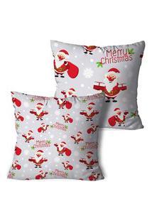 Kit 2 Capas Para Almofadas De Natal Merry Christmas Neutra 35X35Cm