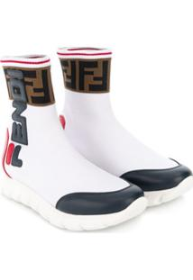 Fendi Kids Bota Color Block Com Logo - Branco