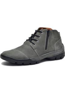 Bota Cano Curto Over Boots Couro Cinza - Kanui