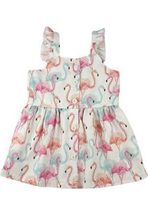 Vestido Infantil Estampa Digital Flamingos - Natural 1