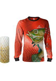 Camisa + Máscara Pesca Quisty Tilápia Bocuda Vermelho Proteção Uv Dryfit Infantil/Adulto - Camiseta De Pesca Quisty