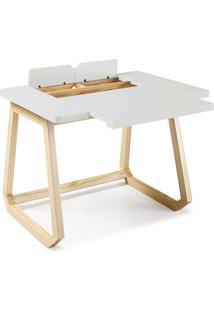 Escrivaninha Branca - Mesa Para Computador Hush 94X77,5X73,5Cm - Taeda E Cor Branca