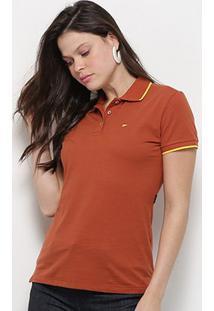Camisa Polo Ellus Asa Manga Curta Feminina - Feminino-Laranja Escuro