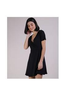 Vestido Feminino Curto Transpassado Manga Curta Preto