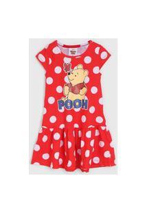 Vestido Fakini Infantil Pooh Vermelho/Branco