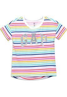 Camiseta Infantil Gap Logo Listrada Feminina - Masculino-Colorido