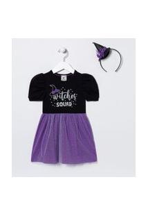 Vestido Infantil Bruxinha Com Saia De Tule E Acessório - Tam 1 A 5 Anos | Póim (1 A 5 Anos) | Preto | 01