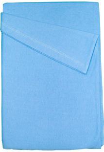 Lençol De Berço Baby Deluxe Com Elástico Azul Liso - Kanui
