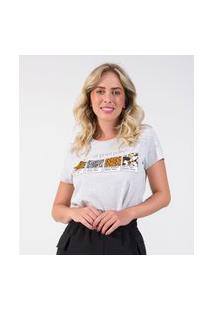 T-Shirt Feminina Estampada Rovitex Cinza