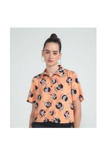 Camisa Cropped Manga Curta Estampa Pernalonga E Lola | Looney Tunes | Laranja | M