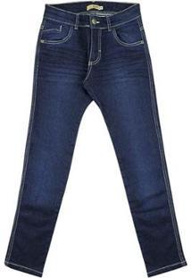 Calça Infantil Look Jeans Super Skinny Jeans Masculina - Masculino-Azul