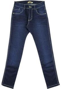 Calça Look Jeans Super Skinny Jeans Masculina Infantil - Masculino-Azul
