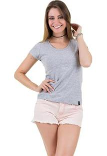 Camiseta Básica Feminina - Feminino-Cinza