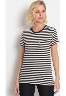 Camiseta Listrada Com Bolso- Preta & Off Whitelevis